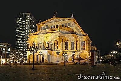 Lte Oper at night  in Frankfurt Editorial Stock Image