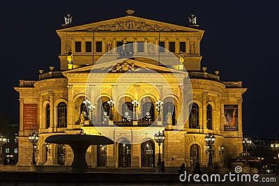 Lte Oper at night  in Frankfurt Editorial Stock Photo