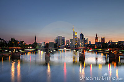 Frankfurt am Main skyline at twilight, Germany