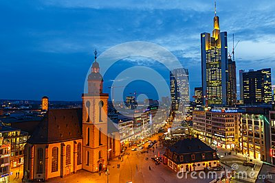 Frankfurt at night Editorial Image