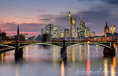 Frankfurt skyline at dusk in HDR