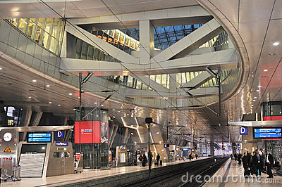 Frankfurt train terminal interior. Railway Station Editorial Photo