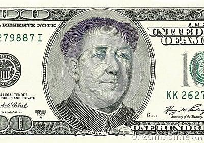 Franklin konvertierte in Mao auf 100 Dollarschein