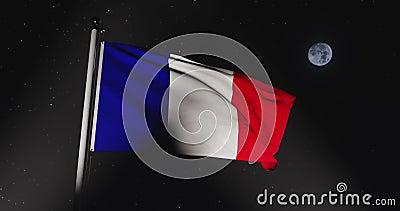 Frans Tricolor Waving or France Flag Banner Flying - 30 fps Slow Motion 4k Video stock footage