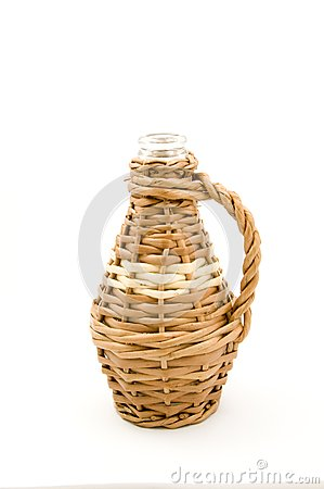 Frasco de vidro no Weave de vime