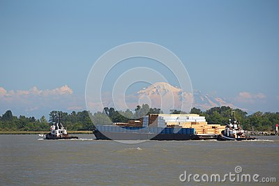 Fraser River Barge, Mount Baker Afternoon