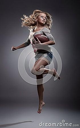 Frau des amerikanischen Fußballs
