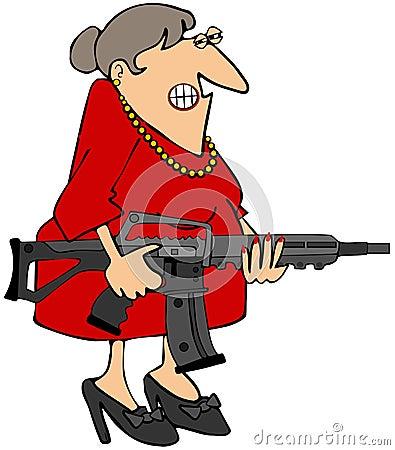 Frau, die ein Gewehr anhält