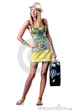 Frau, die für Ferien sich vorbereitet