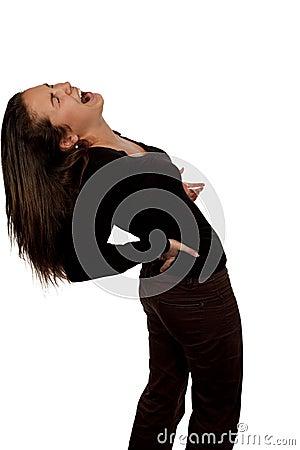 Frau, die unter den rückseitigen Schmerz leidet