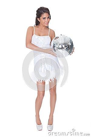 Frau Im Partykleid, Das Discokugel Anhält Stockfoto - Bild: 28342530