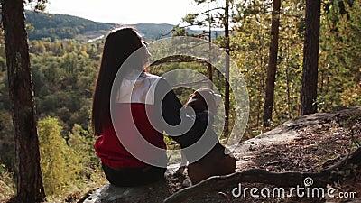 Frau mit einem reizend Hund, der in den Herbst Park geht stock video footage