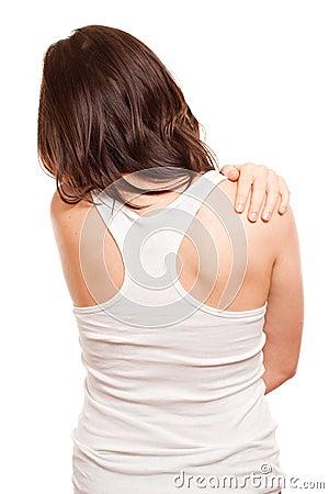 Frau `s Rückseite in den Schmerz