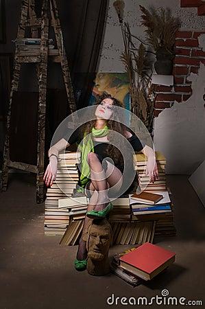 Frau und Bücher