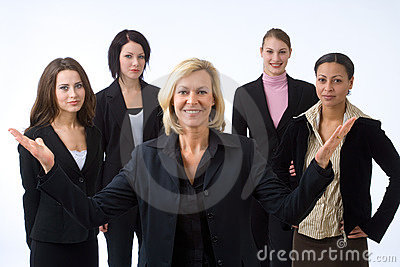 Frau und ihr Team