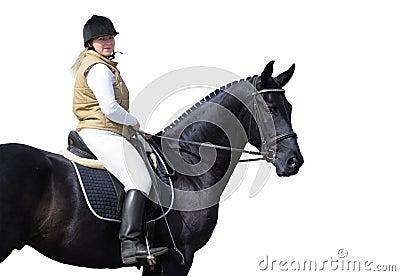 Frau und schwarzes Pferd