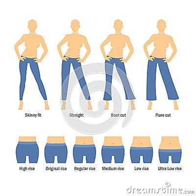 frauen jeans arten eingestellt vektor abbildung bild. Black Bedroom Furniture Sets. Home Design Ideas