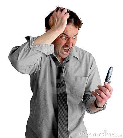 Free Freaked Out Phone Guy Royalty Free Stock Image - 711556