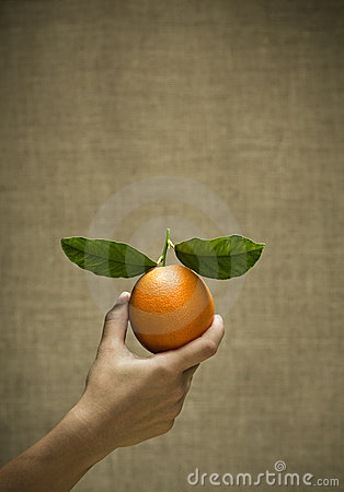 Freash natural orange with leaves