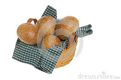 Freash wheat rolls in basket