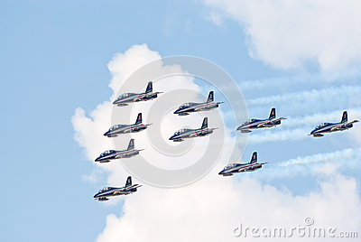 Frecce Tricolori jets in formation Editorial Stock Photo