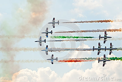 Frecce Tricolori team demonstrates aerobatics Editorial Photography