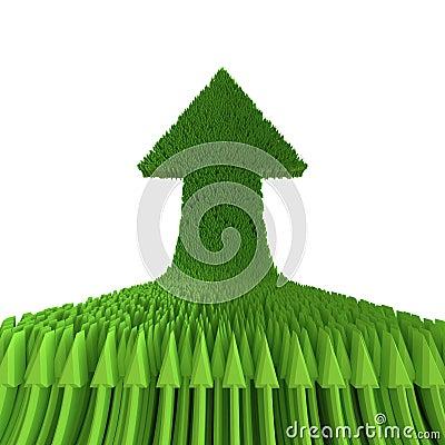 Freccia di verde 3d isolata su fondo bianco