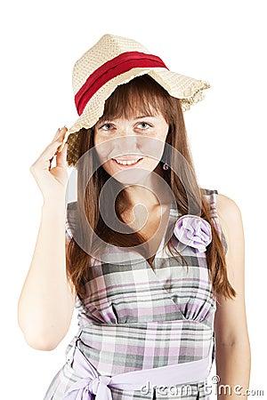 Freckled girl in hat