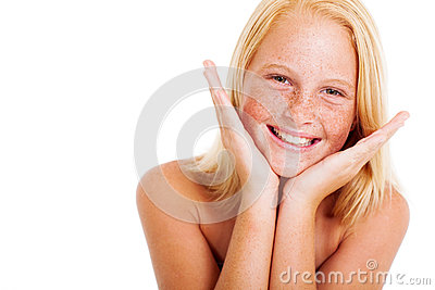 Freckled preteen girl