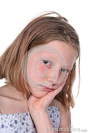 Freckled sad girl