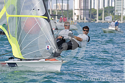Fred Strammer & Zach Brown lead the 49er fleet at the 2013 ISAF Editorial Stock Photo