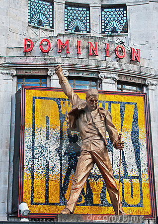 Freddie Mercury statue above Dominion Theatre Editorial Photo
