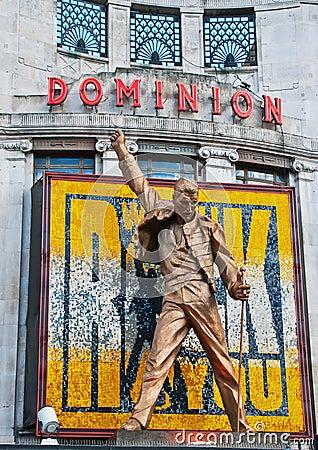 Freddie Mercury statue above Dominion Theatre Editorial Photo