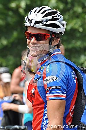 Frederic Belaubre, Triathlon 2009 del d Huez di Alpe. Fotografia Editoriale