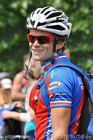 Frederic Belaubre, Triathlon 2009 do d Huez de Alpe. Foto Editorial