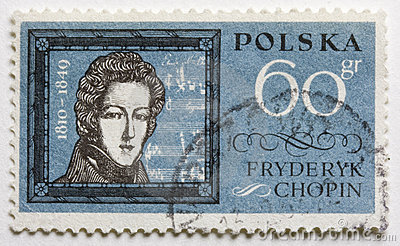 Frederic Chopin on a post stamp
