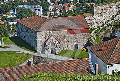 Fredriksten fortress (the large powderhouses)