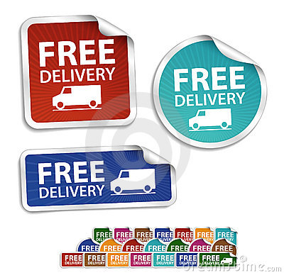 Free delivery stickers, labels, icon, button, mess