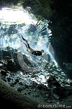 Free diver in cenote
