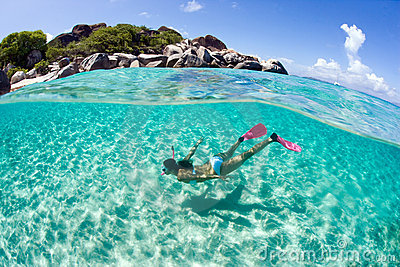Free diver woman snorkel