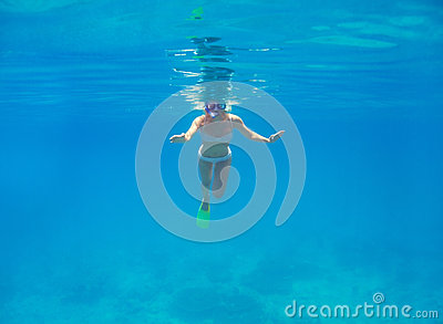 Free floating in crystal clear waters