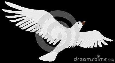 A free flying white dove.