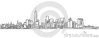 Free hand sketch of New York City skyline. Vector Scribble Vector Illustration
