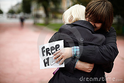 Free Hugs from Russia Editorial Stock Photo