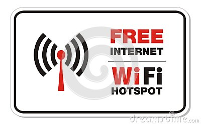 Free internet wifi hotspot rectangle sign