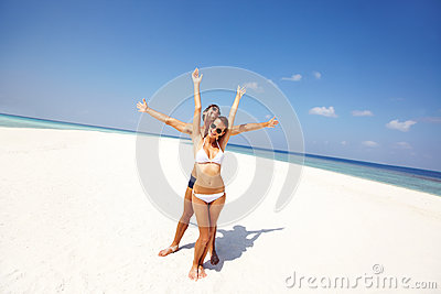 Free and joyful in summer sands