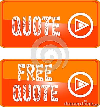 Free quote web button orange