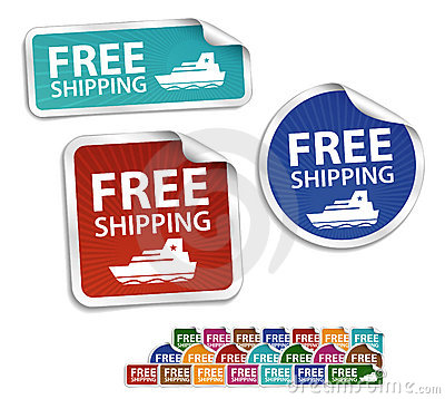 Free shipping stickers, labels, icon, button