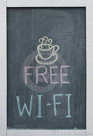 Free Wi-Fi Chalk Text on Blackboard