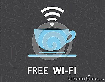 Free wifi coffee mug concept illustration design